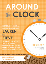 Around The Clock Orange Crosshatch Bridal Invitations