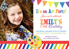 Art Party Rainbow Theme Photo Birthday Invitations