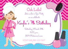 Chevron Pink Spa Girl Birthday Party Invitations