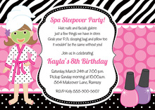 Wild Spa Sleepover Birthday Party Invitations