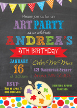 Colorful Paint Pallet Chalkboard Birthday Invitations