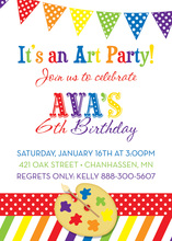 Bright Colorful Paint Pallet Birthday Party Invitations