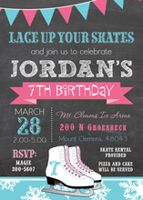 Pink Blue Ice Skates Chalkboard Birthday Invitations