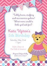 Teddy Bear Tutu Pink Chevrons Birthday Invitations