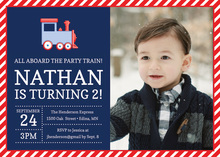 Red Navy Train Photo Birthday Party Invitations