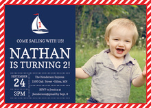 Red Navy Sail Boat Photo Birthday Party Invitations