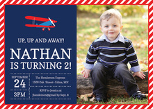 Red Navy Biplane Photo Birthday Party Invitations