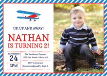 Red Blue Biplane Photo Birthday Party Invitations