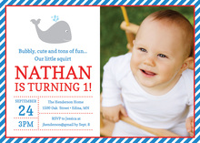 Red Blue Little Squirt Photo Birthday Invitations
