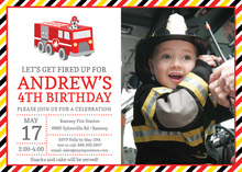 Dalmatian Fire Truck Photo Birthday Invitations