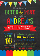 Building Blocks Party In Action Birthday Invitations