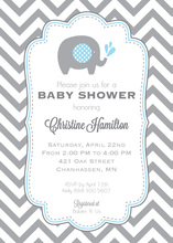 Vintage Frame Boy Baby Shower Elephant Invites