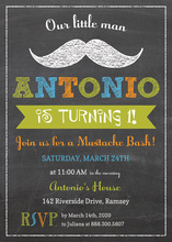 Little Man Mustache Bash Chalkboard Boy Invitations