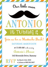 Sophisticated Little Man Mustache Bash Boy Invitations