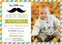 Little Man Mustache Bash Boy Photo Birthday Invitation