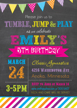 Bright Rainbow Chalkboard Birthday Invitations
