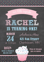 Pretty Pink Cupcake Chalkboard Photo Invitations