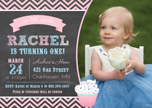 Pretty Pink Cupcake Chalkboard Birthday Invitations
