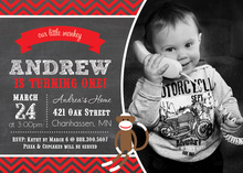 Our Little Monkey Chalkboard Photo Birthday Invitation