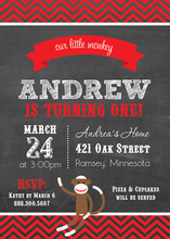 Our Cute Little Monkey Chalkboard Birthday Invitations
