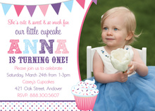 Our Little Cupcake Girl Modern Photo Invitations