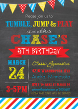 Primary Graphic Stripes Chalkboard Birthday Invitation