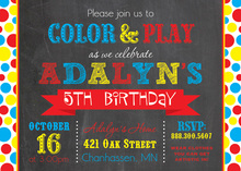 Primary Dots Traditional Chalkboard Birthday Invitation