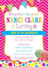 Bright Sweets Girly Chevrons Birthday Party Invitations