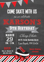 Red Black Roller Skate Chalkboard Birthday Invitations