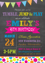 Bright Rainbow Dots Chalkboard Birthday Invitations