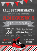 Modern Red Hockey Skates Chalkboard Birthday Invites