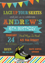Multicolored Hockey Skates Chalkboard Invitations