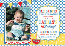 Sail Boat Blue Dots and Yellow Hexagon Photo Invites