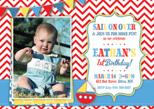 Sail Boat Red Chevron Photo Birthday Party Invitations
