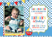 Sail Boat Blue Dots Photo Birthday Party Invitations