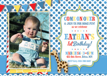 Giraffe Blue Polka Dots Photo Birthday Invitations