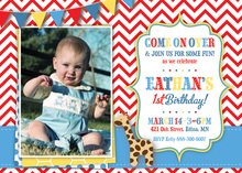 Giraffe Red Chevron Photo Birthday Party Invitations