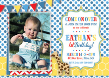 Giraffe Blue Dots and Yellow Hexagon Photo Invitations