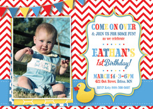 Rubber Ducky Red Chevron Photo Birthday Invitations