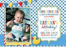 Rubber Ducky Blue Polka Dots Photo Birthday Invitation