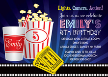 Movie Showtime Essentials Popcorn Birthday Invitations