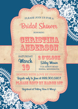 Trendy Blue White Lace Vintage Frame Invitations