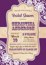 Trendy Purple White Lace Vintage Frame Invitations