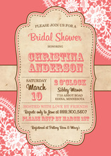 Trendy Coral White Lace Vintage Frame Invitations