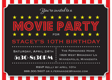 Movie Party Large Text Block Birthday Invitations