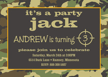Woodland Camo Birthday Party Invitations