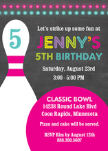 Magenta Bowling Ball Chalkboard Birthday Invitations