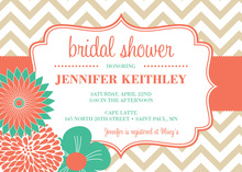 Modern Coral Turquoise Flowers Chevron Invitations