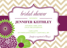 Modern Purple Green Flowers Chevron Invitations