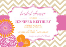 Modern Pink Orange Flowers Chevron Invitations